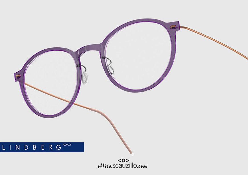 shop online new Round titanium eyeglasses N.O.W LINDBERG 6527 col. C13-60 purple and copper on otticascauzillo.com acquisto online nuovo  Occhiale da vista titanio tondo N.O.W LINDBERG 6527 col. C13-60 viola e rame