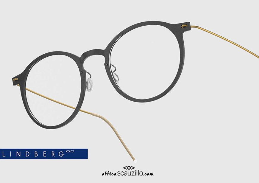 shop online New Round titanium eyeglasses N.O.W LINDBERG 6541 col. D16-GT black and gold on otticascauzillo.com acquisto online nuovo occhiale da vista titanio tondo N.O.W LINDBERG 6541 col. D16-GT nero e oro