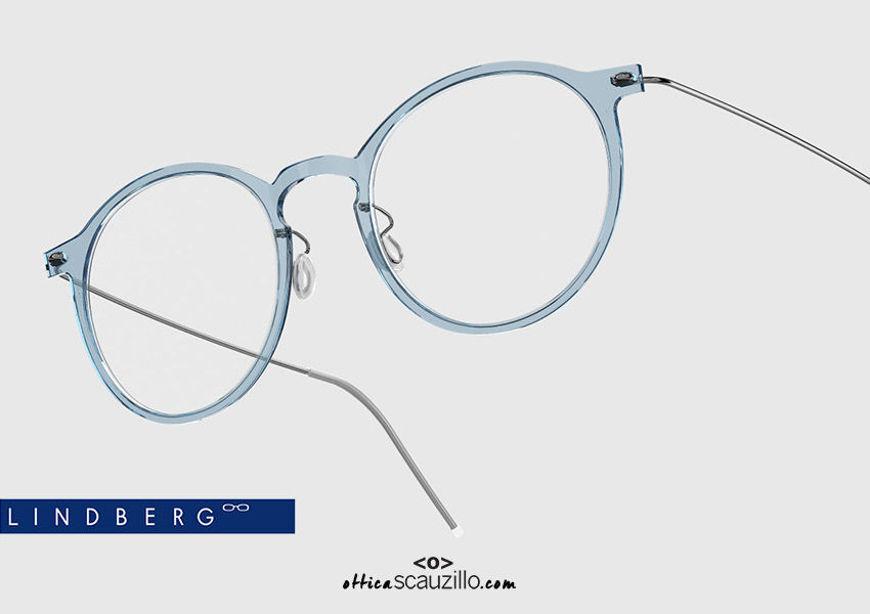 shop online new Round titanium eyeglasses N.O.W LINDBERG 6541 col. C08-P10 light blue and silver on otticascauzillo.com acquisto online new  Occhiale da vista titanio tondo N.O.W LINDBERG 6541 col. C08-P10 celeste e argento