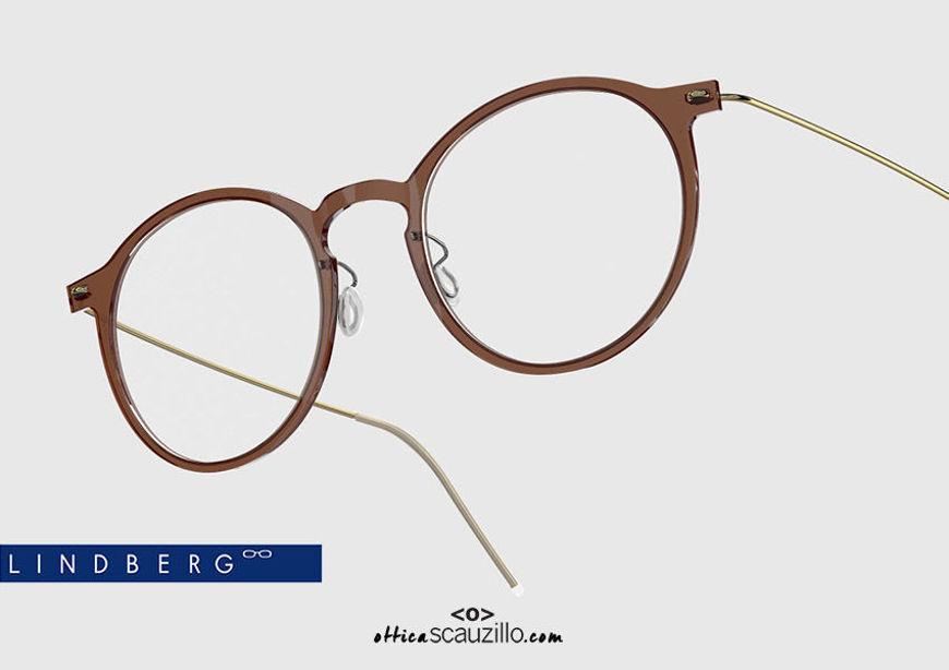 shop online new Round titanium eyeglasses N.O.W LINDBERG 6541 col. C02-PGT brown and gold on otticascauzillo.com  acquisto online nuovo  Occhiale da vista titanio tondo N.O.W LINDBERG 6541 col. C02-PGT marrone e oro