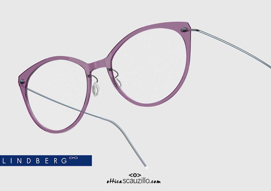 shop online New Titanium cat eye eyeglasses N.O.W LINDBERG 6564 col. C19-P25 purple and light blue on otticascauzillo.com acquisto online nuovo Occhiale da vista titanio cat eye N.O.W LINDBERG 6564 col. C19-P25 viola e celeste