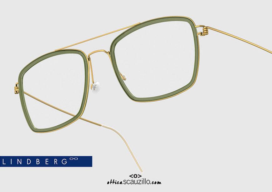 shop online new Double bridge titanium eyeglasses Air Rim LINDBERG Oscar col. GT-K175 gold and green on otticascauzillo.com acquisto online nuovo occhiale  da vista titanio doppio ponte squadrato Air Rim LINDBERG Oscar col. GT-K175 oro e verde