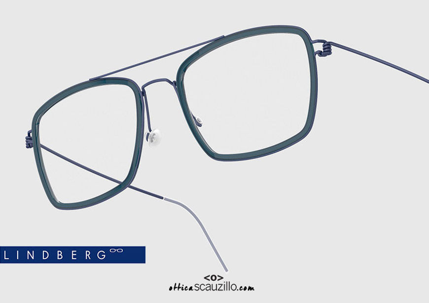 shop online new Double bridge titanium eyeglasses Air Rim LINDBERG Oscar col. U13-K259 blue on otticascauzillo.com acquisto online nuovo  Occhiale da vista titanio doppio ponte squadrato Air Rim LINDBERG Oscar col. U13-K259 blu