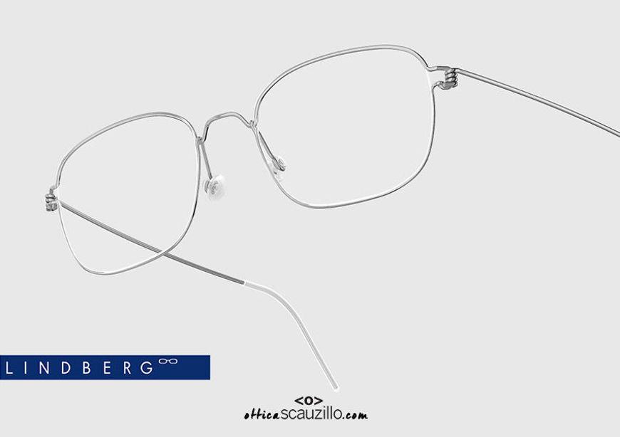 shop online new Narrow rectangular titanium eyeglasses Air Rim LINDBERG MARS col. P10 shiny silver on otticascauzillo.com  acquisto online nuovo  Occhiale da vista titanio rettangolare stretto Air Rim LINDBERG MARS col. P10 argento lucido