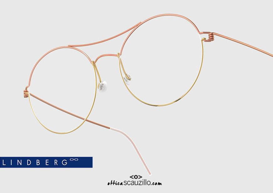 shop online new Oversized round titanium eyeglasses Air Rim LINDBERG VICTORIA col. P60-GT copper and gold on otticascauzillo.com acquisto online nuovo  Occhiale da vista titanio tondo oversize Air Rim LINDBERG VICTORIA col. P60-GT rame e oro