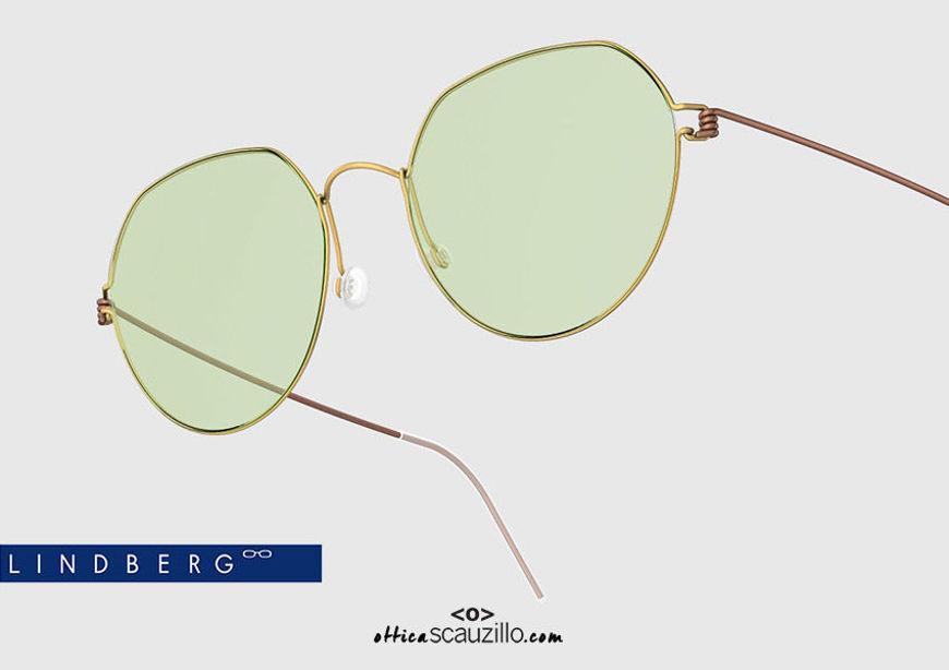 shop online new Round titanium eyeglasses Air Rim LINDBERG EVAN col. GT-U12 gold and brown on otticascauzillo.com acquisto online nuovo occhiale da vista titanio tondo Air Rim LINDBERG EVAN col. GT-U12 oro e marrone