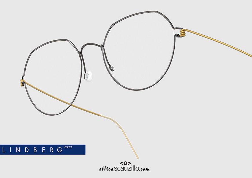 shop online new Round titanium eyeglasses Air Rim LINDBERG EVAN col. GT-U9 gold and black on otticascauzillo.com acquisto online nuovo  Occhiale da vista titanio tondo Air Rim LINDBERG EVAN col. GT-U9 oro e nero