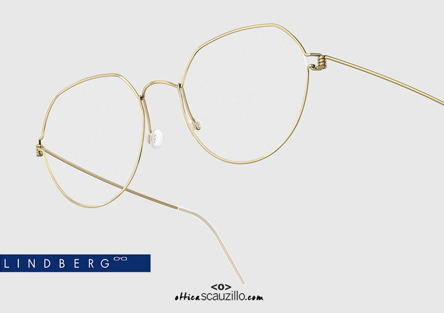 shop online new Round titanium eyeglasses Air Rim LINDBERG EVAN col. GT gold on otticascauzillo.com acquisto online nuovo Occhiale da vista titanio tondo Air Rim LINDBERG EVAN col. GT oro