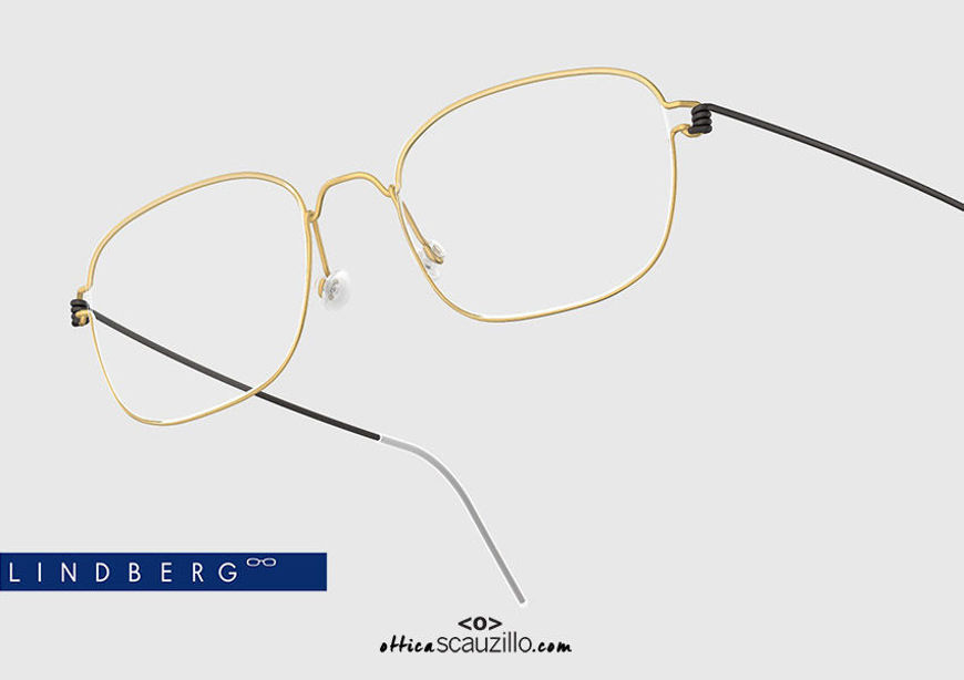 shop online new Wide rectangular titanium eyeglasses Air Rim LINDBERG MARS col. GT-U9 gold and black on otticascauzillo.com acquisto online nuovo  Occhiale da vista titanio rettangolare ampio Air Rim LINDBERG MARS col. GT-U9 oro e nero