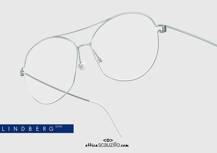 shop online new Round aviator titanium eyeglasses Air Rim LINDBERG COCO col. P30 light blue on otticascauzillo.com acquisto online nuovo  Occhiale da vista titanio aviator tondo Air Rim LINDBERG COCO col. P30 celeste