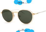shop online new round gold metal eyeglasses with green clip SNOB Milano PIGI SNV42MC005Z on otticascauzillo.com acquisto online Nuovo occhiale da vista tondo in metallo oro con clip verde SNOB Milano PIGI SNV42MC005Z