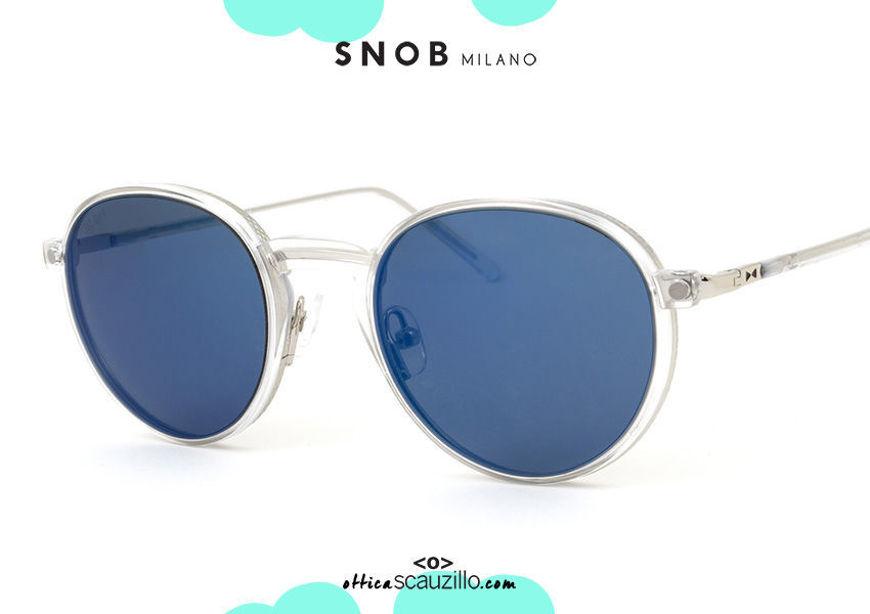 shop online new round eyeglasses in silver metal with blue clip SNOB Milano PIGI SNV42MC002Z on otticascauzillo.com acquisto online Nuovo occhiale da vista tondo in metallo argento con clip blu SNOB Milano PIGI SNV42MC002Z