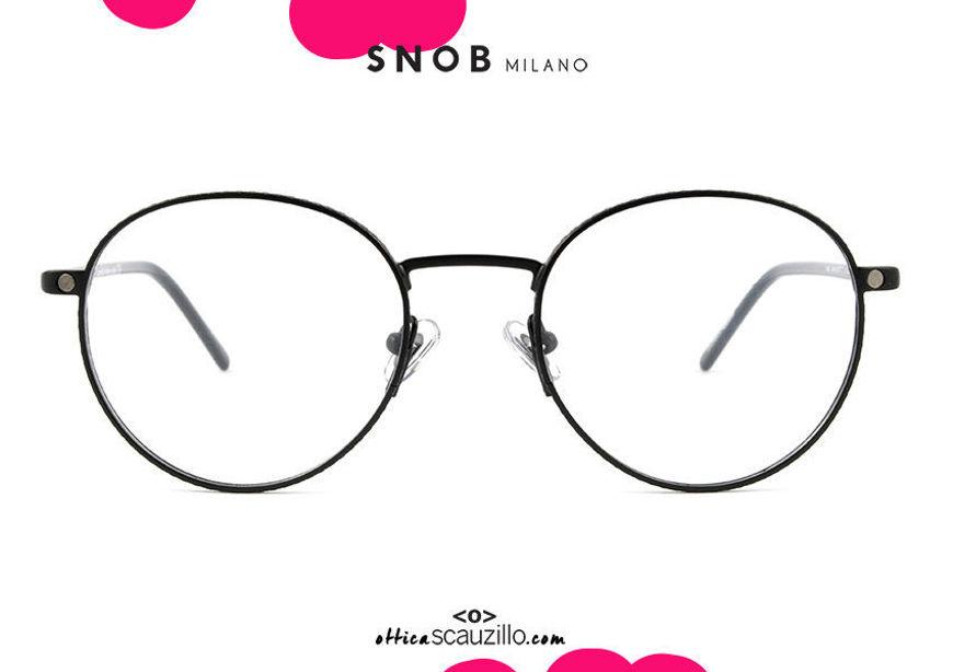 shop online new round black metal eyeglasses with black clip SNOB Milano PIGI SNV42MC007Z on otticascauzillo.com acquisto online nuovo occhiale  da vista tondo in metallo nero con clip nera SNOB Milano PIGI SNV42MC007Z