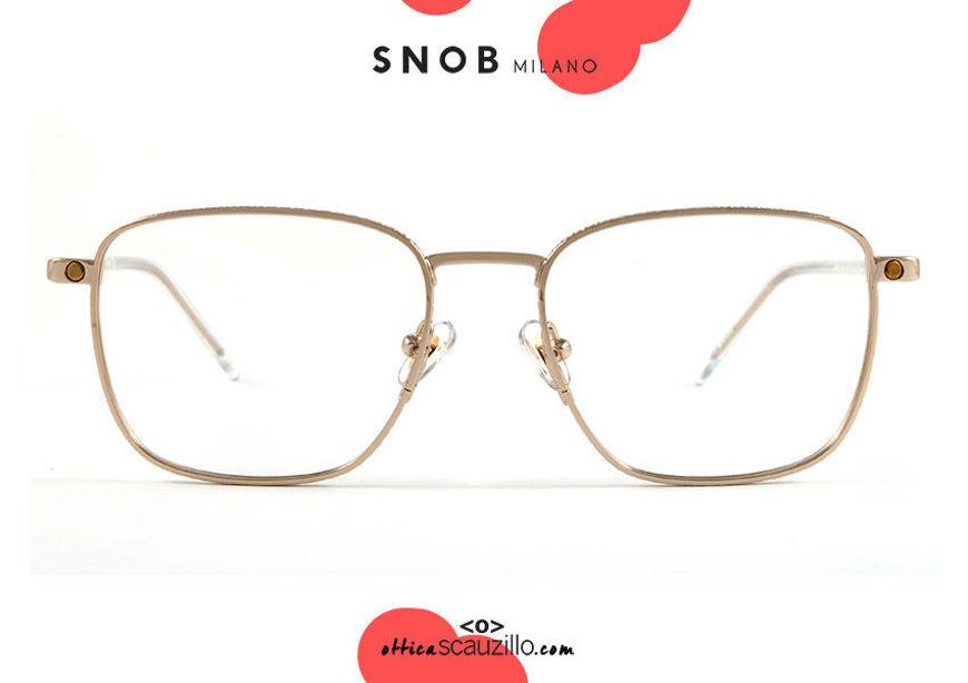 shop online new Square gold metal eyeglasses with brown clip SNOB Milano GIAMPI SNV41MC009Z on otticascauzillo.com acquisto online nuovo Occhiale da vista squadrato metallo oro con clip marrone SNOB Milano GIAMPI SNV41MC009Z