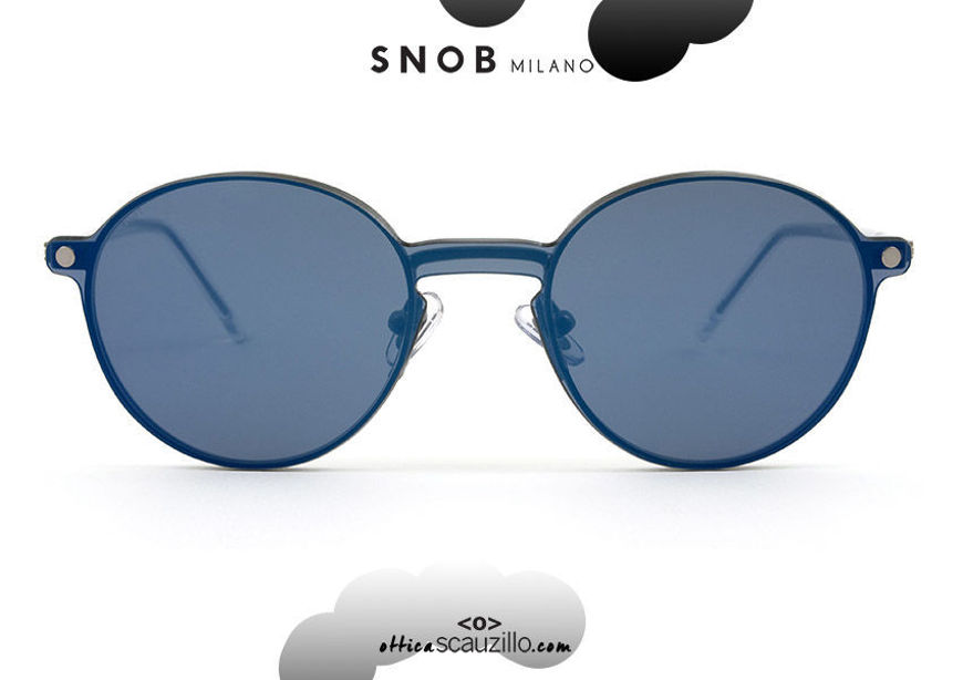 acquisto online nuovo Occhiale da vista tondo piccolo metallo grigio con clip blu SNOB Milano NININ SNV61MC006Z su otticascauzillo.com  shop online new Small gray metal round eyeglasses with blue clip SNOB Milano NININ SNV61MC006Z