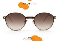 shop online new Small round gold metal eyeglasses with brown clip SNOB Milano NININ SNV61MC003Z on otticascauzillo.com acquisto online nuovo  Occhiale da vista tondo piccolo metallo oro con clip marrone SNOB Milano NININ SNV61MC003Z