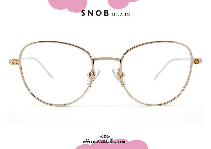 shop online new Gold cat eye eyeglasses with brown clip SNOB Milano MICETTA STRASS SNV118MC002Z on otticascauzillo.com acquisito online nuovo occhiale  da vista cat eye oro con clip marrone SNOB Milano MICETTA STRASS SNV118MC002Z