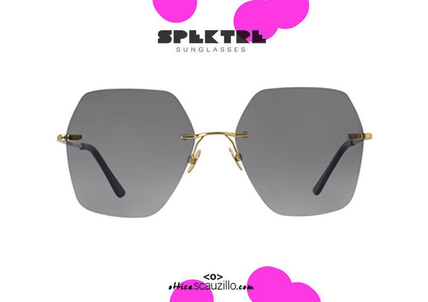 shop online new Spektre rimless sunglasses LOVESTORY oversized gold gradient gray on otticascauzillo.com acquisto online nuovo occhiale  da sole senza montatura oro oversize Spektre LOVESTORY grigio sfumato