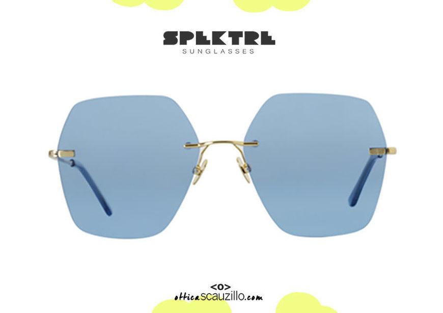shop online new Spektre gold rimless LOVESTORY sky blue oversized sunglasses on otticascauzillo.com acquisto online nuovo Occhiale da sole senza montatura oro oversize Spektre LOVESTORY celeste