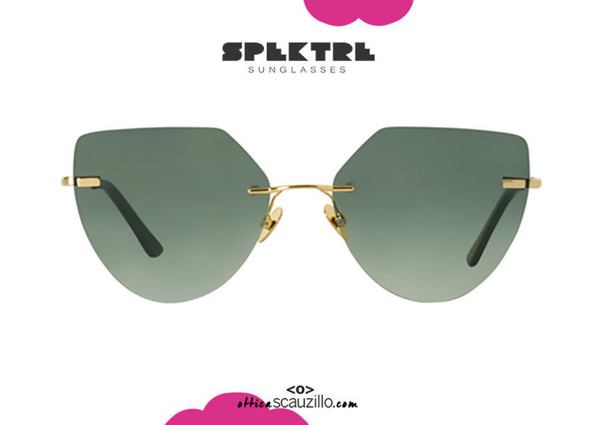 shop online new Spektre  gold rimless cat eye MILLER green pointed sunglasses on otticascauzillo.com acquisto online nuovo occhiale da sole senza montatura oro a punta Spektre MILLER verde.