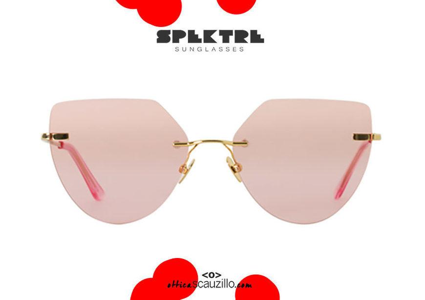shop online new Spektre gold rimless cat eye MILLER pink pointed sunglasses on otticascauzillo.com acquisto online nuovo Occhiale da sole senza montatura oro a punta Spektre MILLER rosa