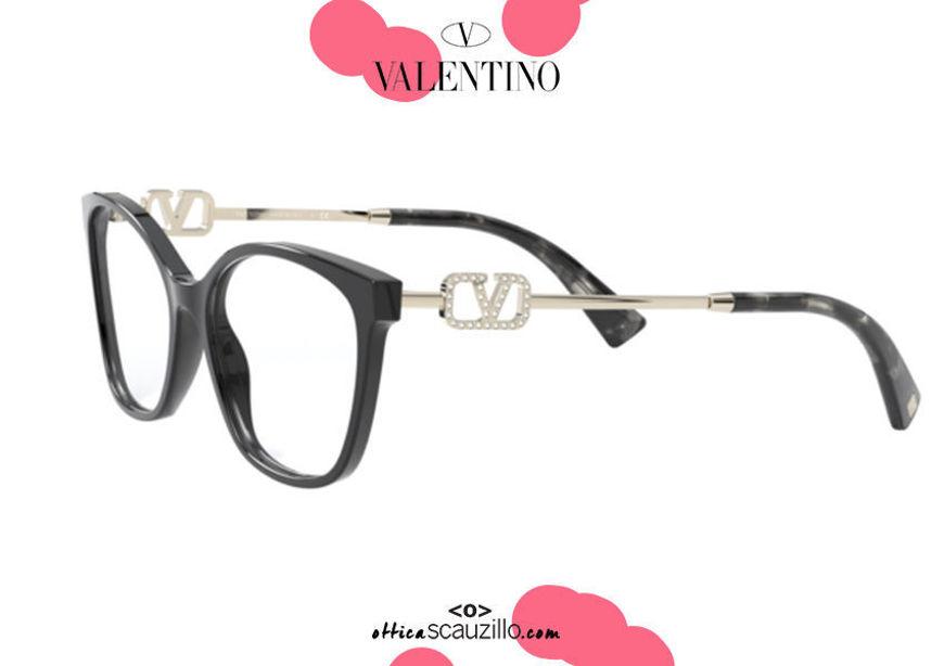 acquisto online nuovo Nuovo occhiale da vista con logo V strass Valentino VA3050 col.5001 nero su otticascauzillo.com shop online New eyeglasses with rhinestone V logo Valentino VA3050 col. 5001 black