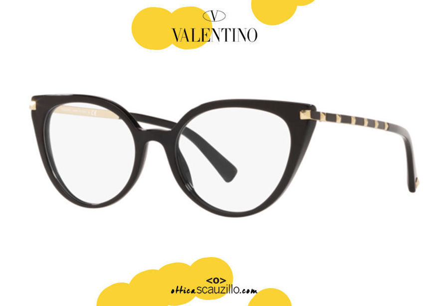 acquisto online nuovo Occhiale da vista a farfalla cat eye Valentino VA3040 col.5001 nero e aste borchiate oro su otticascauzillo.com shop online new Cat eye butterfly eyeglasses Valentino VA3040 col.5001 black and gold studded temples