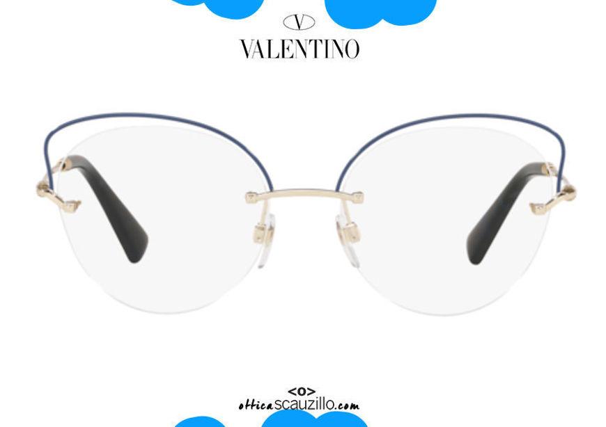 shop online new Valentino VA1015 butterfly rimless eyeglasses col.3034 blue gold on otticascauzillo.com acquisto online nuovo Occhiale da vista senza montatura a farfalla Valentino VA1015 col.3034 oro blu