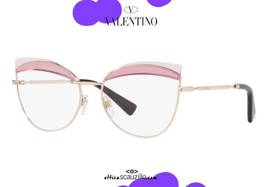 shop online new Metal butterfly eyeglasses Valentino VA1014 col. 3003 gold and pink on otticascauzillo.com acquisto online nuovo Occhiale da vista in metallo a farfalla Valentino VA1014 col.3003 oro e rosa