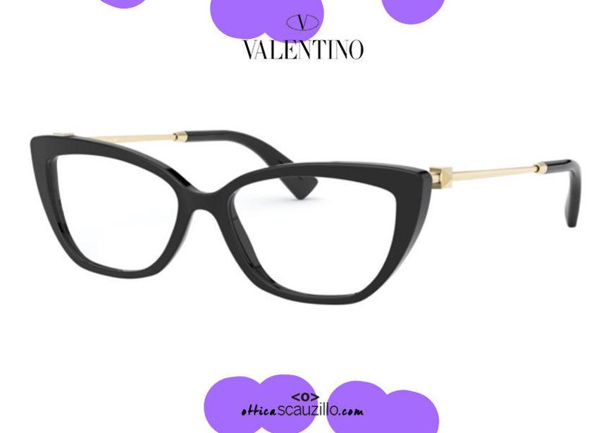 shop online new Narrow rectangular eyeglasses Valentino VA3045 col. 5001 black on otticascauzillo.com acquisto online nuovo Occhiale da vista rettangolare stretto Valentino VA3045 col.5001 nero