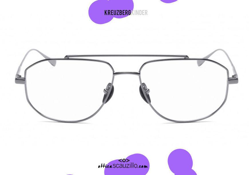 shop online new Square aviator metal eyeglasses KreuzbergKinder VICTOR col. silver on otticascauzillo.com acquisto online nuovo Occhiale da vista in metallo aviator squadrato KreuzbergKinder VICTOR col. argento