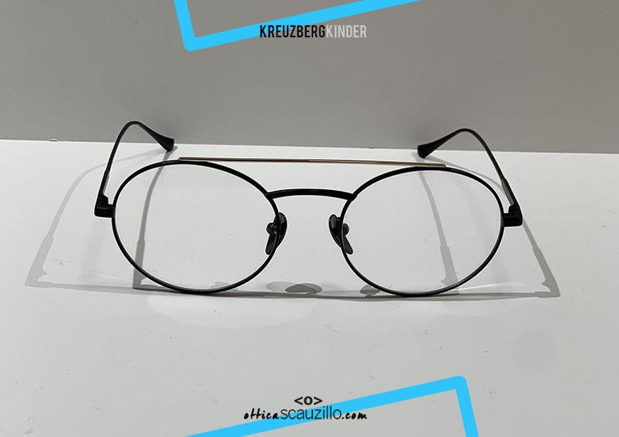shop online new Double bridge oval metal eyeglasses KreuzbergKinder ESET col. black and gold on otticascauzillo.com acquisto online nuovo occhiale da vista in metallo ovale doppio ponte KreuzbergKinder ESET col. nero e oro