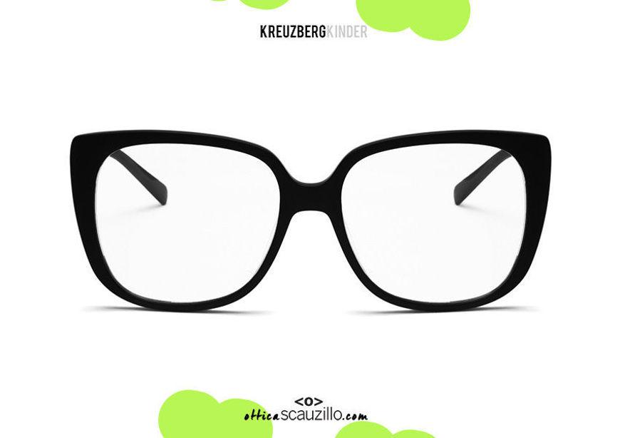 shop online new KreuzbergKinder XENIA oversized squared acetate eyeglasses col. Black on otticascauzillo.com acquisto online nuovo occhiale da vista in acetato squadrato oversize KreuzbergKinder XENIA col.nero