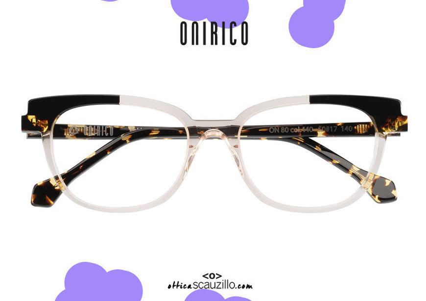 shop online new Narrow rectangular cat eye eyeglasses ONIRICO ON80 col. 440 transparent on otticascauzillo.com acquisto online nuovo occhiale  da vista rettangolare cat eye stretto ONIRICO ON80 col.440 trasparente