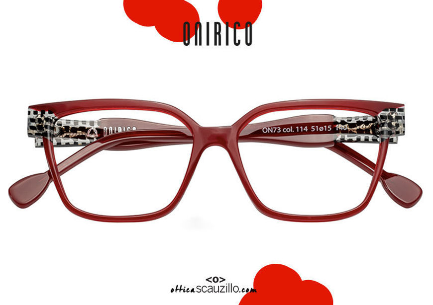 acquisto online nuovo Occhiale da vista squadrato rettangolare ONIRICO ON73 col.114 bordeaux su otticascauzillo.com shop online new  ONIRICO ON73 rectangular square eyeglasses col. 114 bordeaux