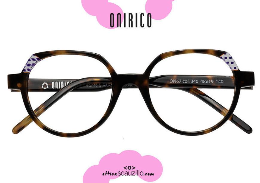 shop online new ONIRICO ON67 round design eyeglasses col.340 havana brown and transparent lilac on otticascauzillo.com acquisto online nuovo Occhiale da vista design tondo ONIRICO ON67 col.340 marrone havana e lilla trasparente