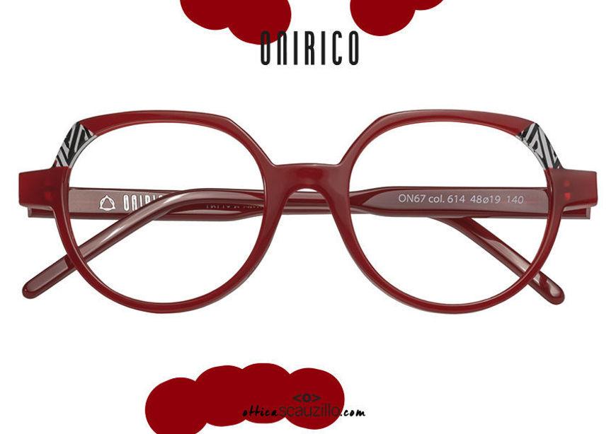 acquisto online nuovo Occhiale da vista design tondo ONIRICO ON67 col.614 rosso rubino su otticascauzillo.com shop online new ONIRICO ON67 round design eyeglasses col.614 ruby red
