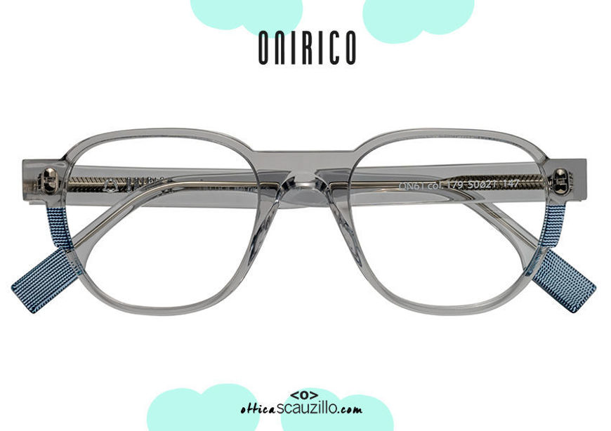 acquisto online nuovo Occhiale da vista tondo ONIRICO ON61 col.179 grigio trasparente su otticascauzillo.com shop online new ONIRICO ON61 round eyeglasses col.179 transparent gray