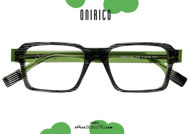 acquisto online su otticascauzillo.com il tuo nuovo Occhiale da vista rettangolare squadrato design ONIRICO ON57 col.733 nero striato e verde su otticascauzillo.com shop online new  Rectangular squared eyeglasses design ONIRICO ON57 col. 733 striped black and green
