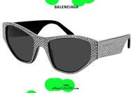 shop online new Balenciaga squared cat eye sunglasses BB0097S col.001 svarowski strass on otticascauzillo.com acquisto online nuovo Occhiale da sole cat eye squadrato Balenciaga BB0097S col.001 svarowski strass