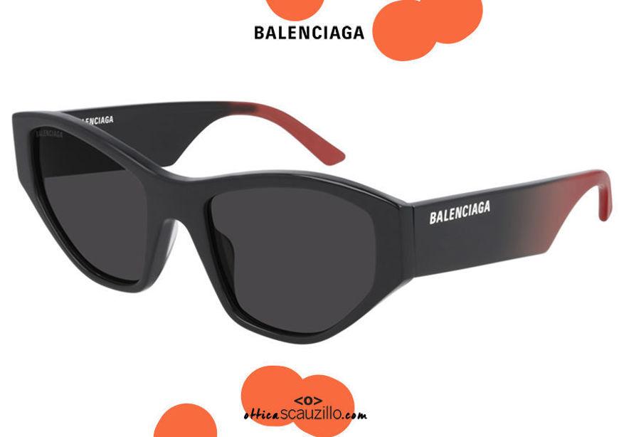shop online new Balenciaga squared cat eye sunglasses BB0097S col.002 black gradient red on otticascauzillo.com acquisto online nuovo  Occhiale da sole cat eye squadrato Balenciaga BB0097S col.002 nero sfumato rosso