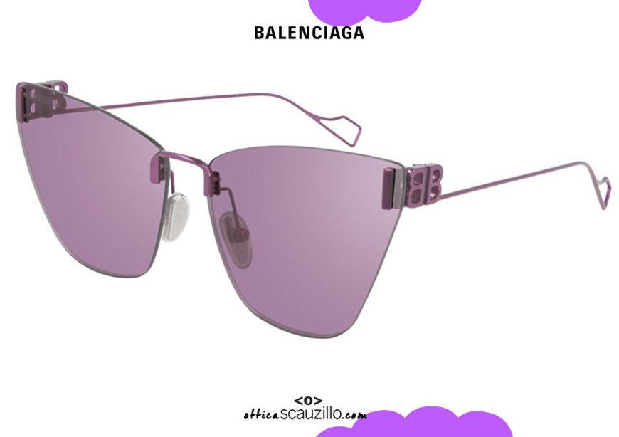 shop online new Balenciaga pointed rimless sunglasses BB0111S EVERYDAY col.004 purple on otticascauzillo.com acquisto online nuovo  Occhiale da sole senza montatura a punta Balenciaga BB0111S EVERYDAY col.004 viola