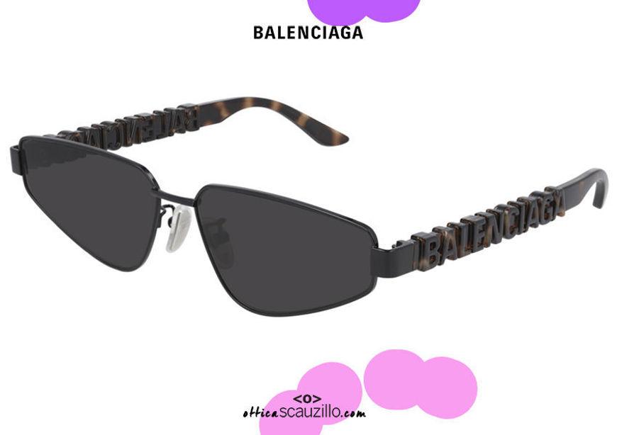 shop online new Balenciaga pointed cat eye sunglasses BB0107S col.002 black and brown on otticascauzillo.com acquisto online nuovo  Occhiale da sole cat eye a punta Balenciaga BB0107S col.002 nero e marrone