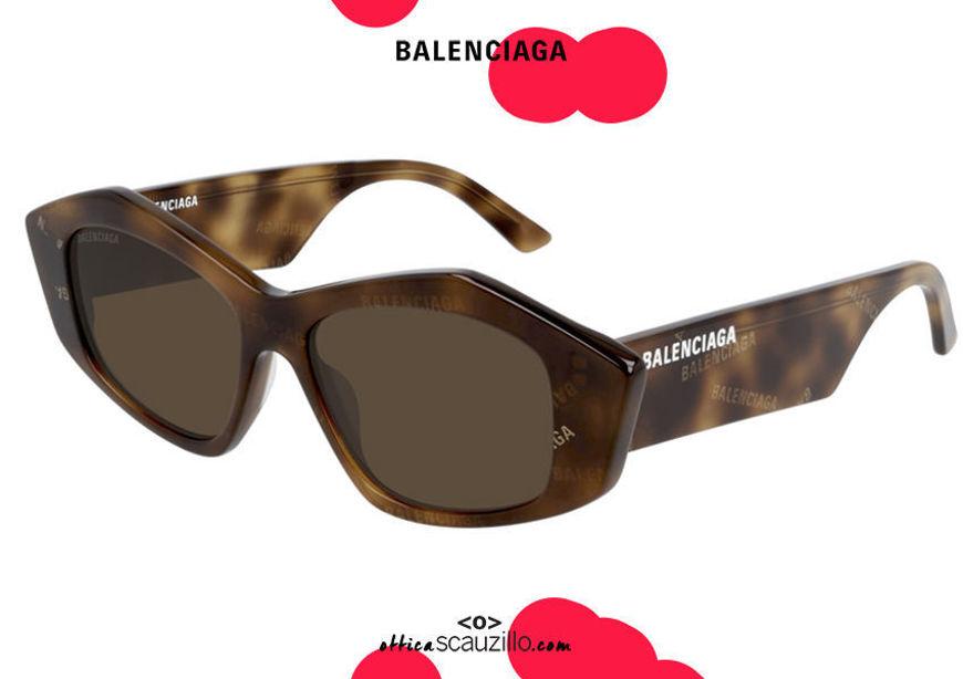 shop online new Balenciaga hexagon pointed cat eye sunglasses BB0106S col.002 brown havana on otticascauzillo.com acquisto online nuovo Occhiale da sole esagono a punta cat eye Balenciaga BB0106S col.002 marrone havana
