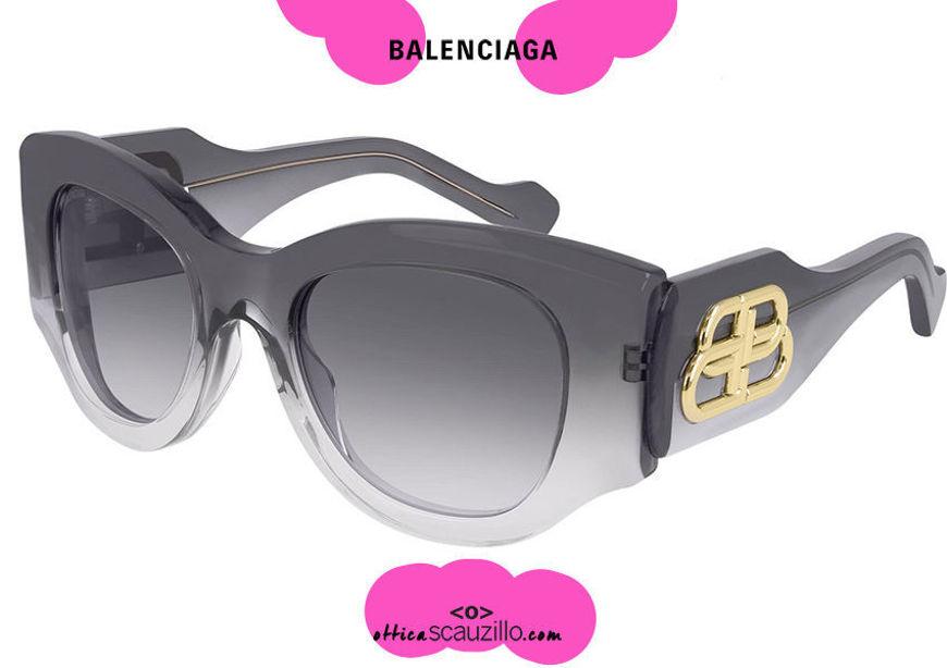 acquisto online nuovo Occhiale da sole logo oro BB Balenciaga BB0070S col.004 grigio sfumato su otticascauzillo.com shop online new Sunglasses BB Balenciaga gold logo BB0070S col.004 gradient gray