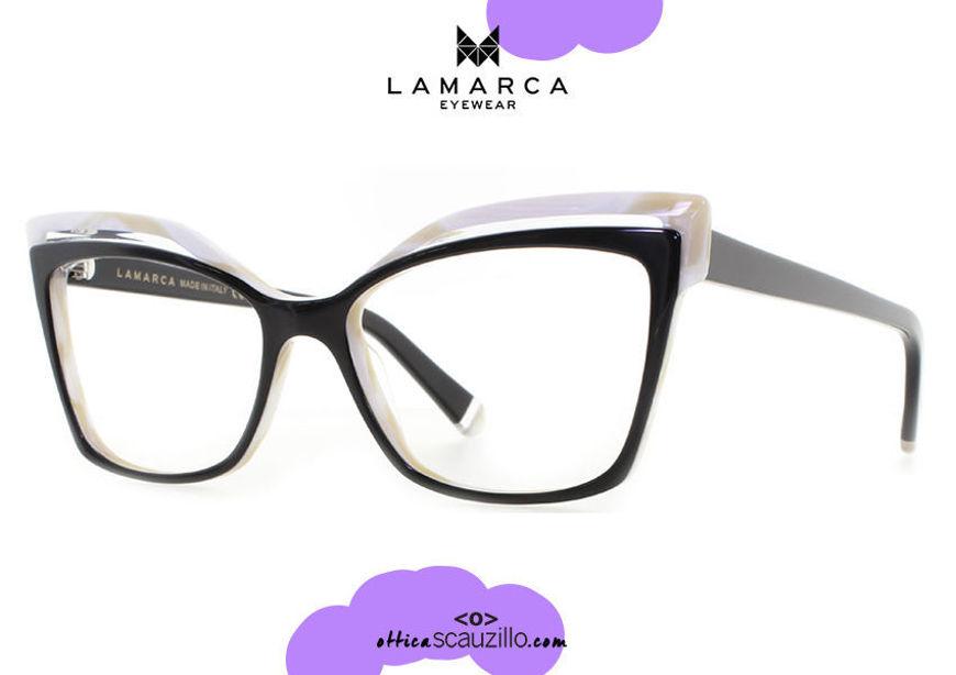 shop online new Square pointed black and white acetate eyeglasses Lamarca PROFILI mod.94 otticascauzillo.com acquisto online nuovo  Occhiale da vista acetato nero e bianco squadrato a punta Lamarca PROFILI mod.94