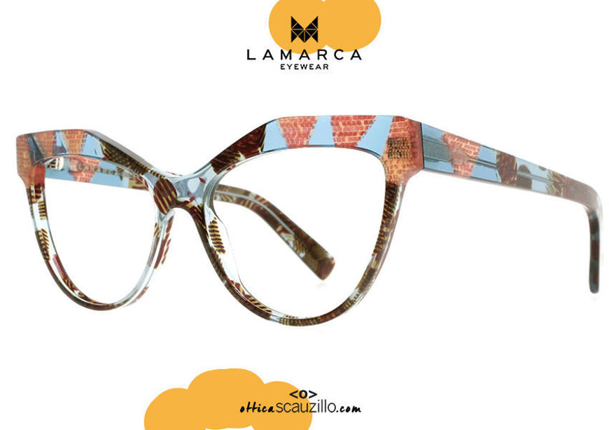 acquisto online nuovo Occhiale da vista a punta oversize Lamarca FUSIONI mod.61 col.02 arancio e celeste su otticascauzillo.com shop online new  Oversized pointed eyeglasses Lamarca FUSIONI mod.61 col.02 orange and light blue