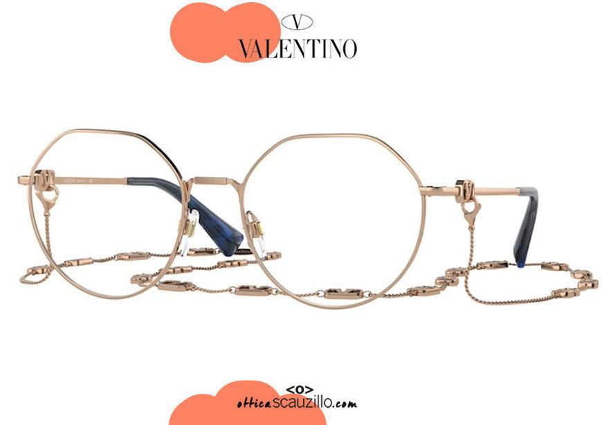 shop online new Oversized round metal eyeglasses Valentino VA1021 col. 3004 rose gold on otticascauzillo.com acquisto online nuovo Occhiale da vista tondo metallo oversize Valentino VA1021 col.3004 oro rosa