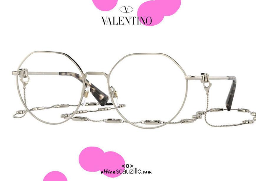 shop online new Oversized round metal eyeglasses Valentino VA1021 col. 3003 white gold on otticascauzillo.com acquisto online nuovo Occhiale da vista tondo metallo oversize Valentino VA1021 col.3003 oro bianco