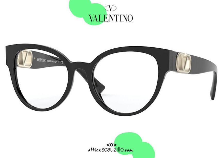 shop online new collection Butterfly cat eye oversize eyeglasses Valentino VA3043 col.5001 black on otticascauzillo.com acquisto online nuovo Occhiale da vista a farfalla cat eye oversize Valentino VA3043 col.5001 nero